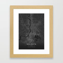 Kolkata, India - Dark Map Framed Art Print
