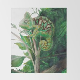 Chameleon in Watercolour Throw Blanket