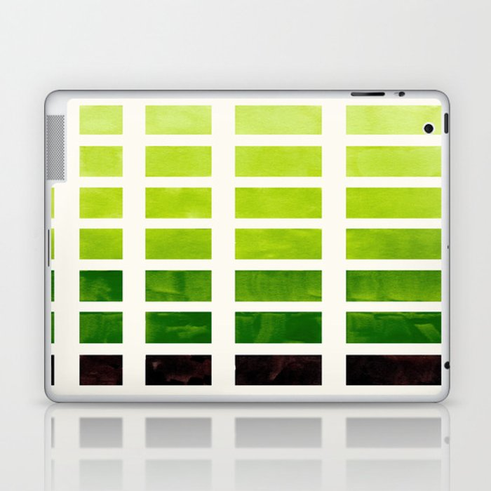 Sap Green Minimalist Mid Century Grid Pattern Staggered Square Matrix  Watercolor Painting Laptop & iPad Skin by incamodern
