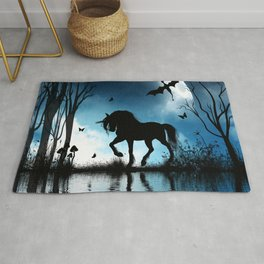 Beautiful unicorn with flying dragon in the sky Rug