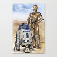 starwars Canvas Prints featuring StarWars Droids by Alex Heuchert