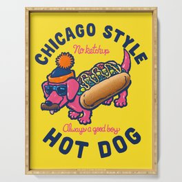 Da Chicago Dog With Text Serving Tray