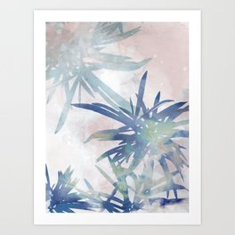 Navy Blue and Blush Pink Palm Leaf Watercolor Painting Art Print