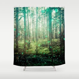 Magical Green Forest - Nature Photography Shower Curtain