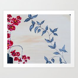Red orchids and leaves Art Print