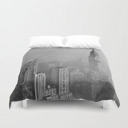 New York City Skyline 1960s Smog Duvet Cover