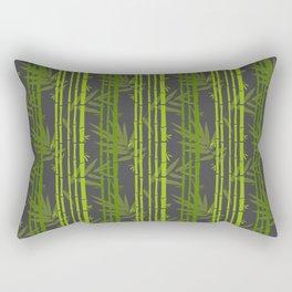 Lime Green Bamboo Leaves Pattern on Grey Rectangular Pillow