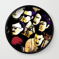 faces Wall Clocks featuring Faces by Helen Syron