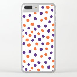Orange and purple clemson polka dots university college alumni football fan gifts Clear iPhone Case