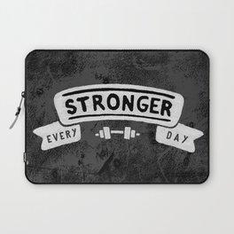 Stronger Every Day (dumbbell, black & white) Laptop Sleeve