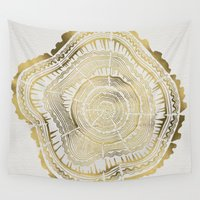 black Wall Tapestries featuring Gold Tree Rings by Cat Coquillette