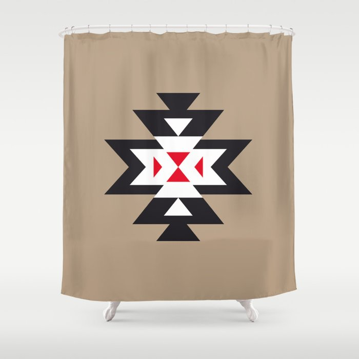 black and brown shower curtain. Navajo Aztec Pattern Black White Red On Light Brown Shower Curtain