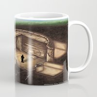 tomb raider Mugs featuring Maeshowe Tomb by Rushelle Kucala Art