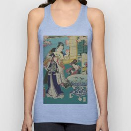 Spring Outing In A Villa Diptych #1 by Toyohara Kunichika Unisex Tank Top