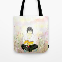 The reading girl Tote Bag