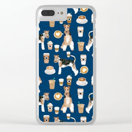 Wire Fox Terrier coffee dog pattern dog lover gifts for dog person dog breeds pet friendly Clear iPhone Case