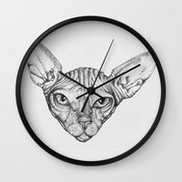 sphynx Wall Clocks featuring Sphynx by SammiKM