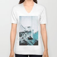 glitch V-neck T-shirts featuring Glitch by SUBLIMENATION