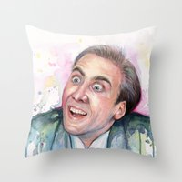 nicolas cage Throw Pillows featuring Nicolas Cage You Don't Say by Olechka