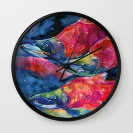 Sockeye Salmon Watercolor Painting Wall Clock