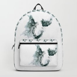 Horseshoe-shaped ink spot in shades of gray Backpack
