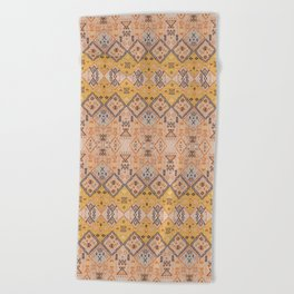 N218 - Mustard Yellow Oriental Heritage Boho Traditional Moroccan Desert Style Beach Towel