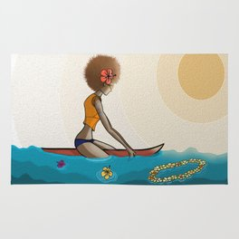 surfing in sunnies Rug