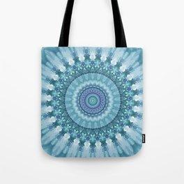 Turquoise and Navy Mandala Tote Bag