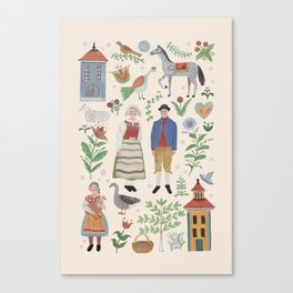 Swedish Folk Art Canvas Print
