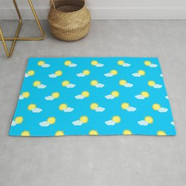 Sun and Clouds Pattern 2 - Blue Rug