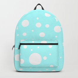 Mixed Polka Dots - White on Celeste Cyan Backpack