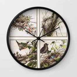 Christmas Card Depicting Birds and Nests (1865-1899) by L Prang  Co Wall Clock