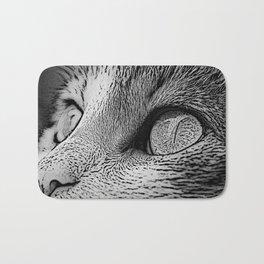 Cat Eyes In Monochrome Close Up Art Bath Mat