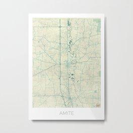 Amite Map Blue Vintage Metal Print