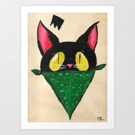 Cat Bandana Art Print