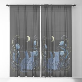 Two Cats Sheer Curtain