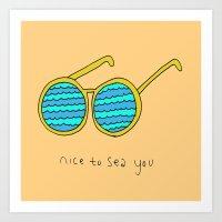 Nice to Sea You Retro Shades Coral Art Print