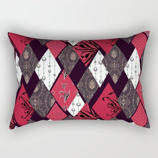 Black-red patchwork . Rectangular Pillow