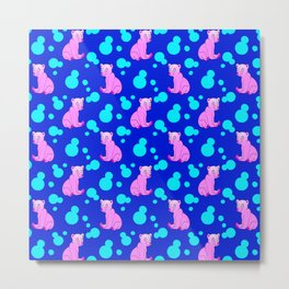 Little bears. Cute adorable funny pink baby bear cubs and bold blue retro dots midnight blue pattern Metal Print
