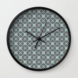 Blue & Coral Geometric Pattern Wall Clock