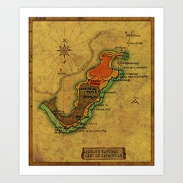 Map Mermaid Cabo de Gata Art Print