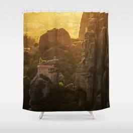 Golden hour at Meteora Shower Curtain