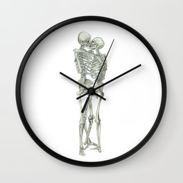 Love, kissing couple, skeleton, anatomy, human, kiss, relationship, marriage Wall Clock