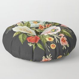 Wildflower and Butterflies Bouquet on Charcoal Black Floor Pillow