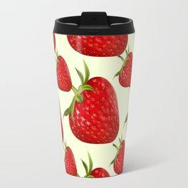 RED STRAWBERRIES PATTERN ART Travel Mug