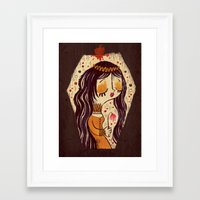 snow white Framed Art Prints featuring Snow White by Pigologist