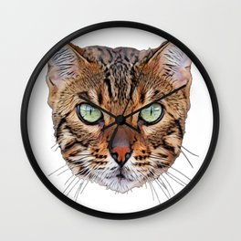 Bengal Cat Egyptian tiger ice crystal frozen eyes Wall Clock