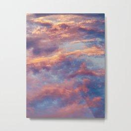 Pink Blue Sky Clouds Metal Print