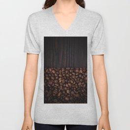 Coffee beans on dark wood background Unisex V-Neck