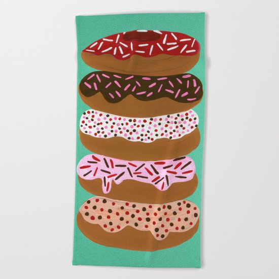 Stacked Donuts on Mint Beach Towel